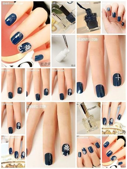 How To Make Your Own Snow Flake On Blue Background Nail Art Step By Step Diy Instructions