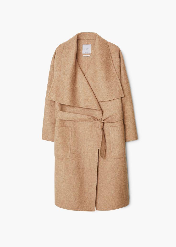Manteau en laine avec ceinture - Manteaux pour Femme | MANGO