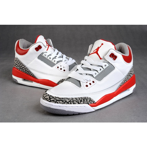 Women Air Jordan 3 Retro White Fire Red Cement Grey ❤ liked on Polyvore