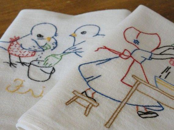 Vintage tea towels. Love the birds!