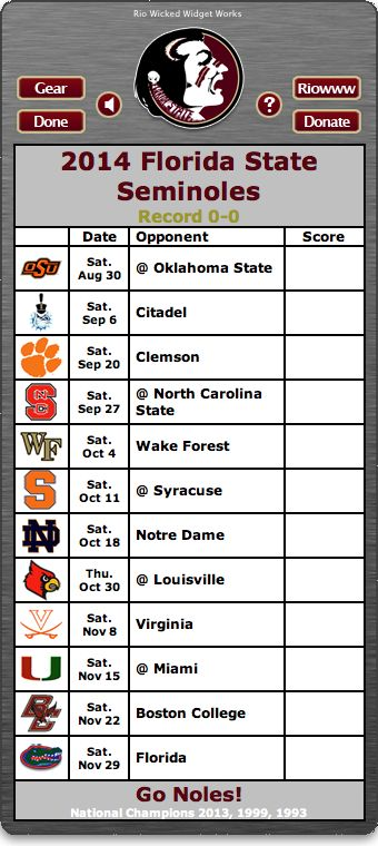 2014 FSU Seminoles Football Schedule Widget - Go Noles! - National Champions 2013, 1999, 1993  http://riowww.com/teamPages/Florida_State_Seminoles.htm