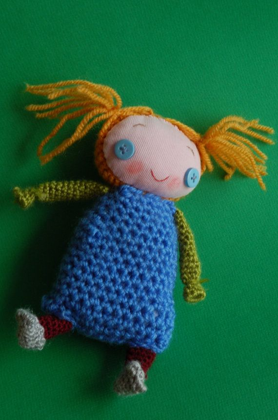 Handmade doll with personality smiling plush toy  by KnitDjin, $50.00