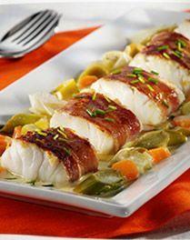 Kabeljauw met ontbijtspek en fijne groenten Cod with bacon and fine vegetables