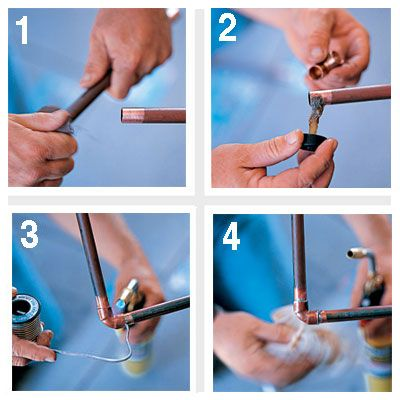 Learn how to solder a copper pipe and 46 other skills you need to survive homeownership.   Photo: David Carmack   thisoldhouse.com