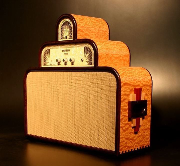 Contemporary amplifier, the Empyrean   It is available in multiple wood combinations and veneer options.