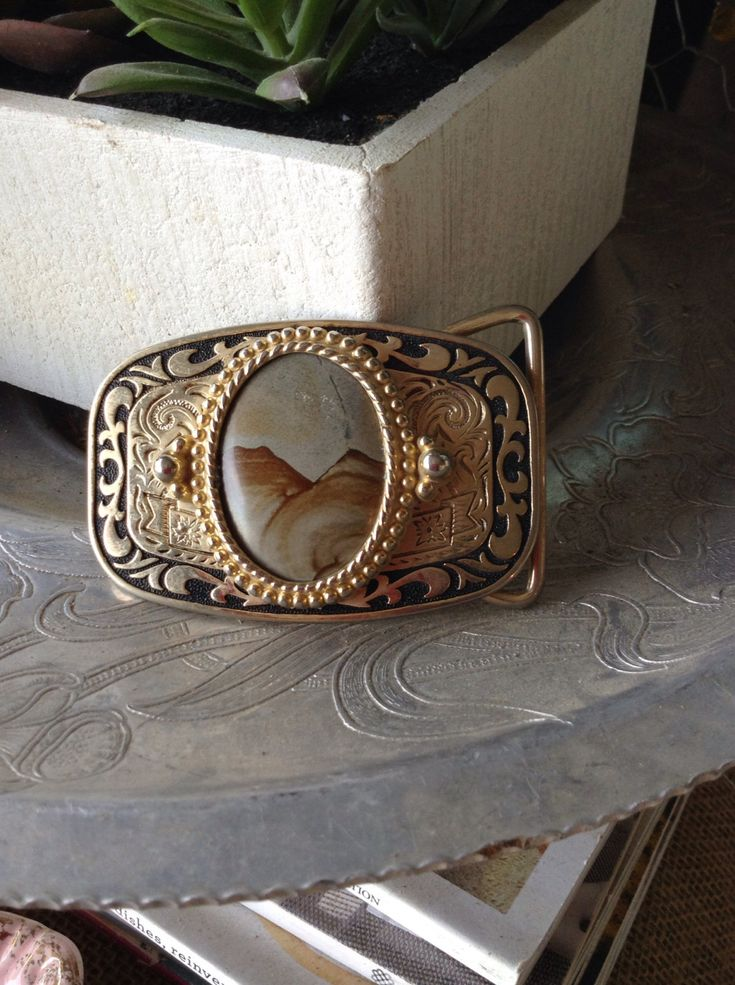 Excited to share the latest addition to my #etsy shop: Vintage belt buckle with stone center free shipping