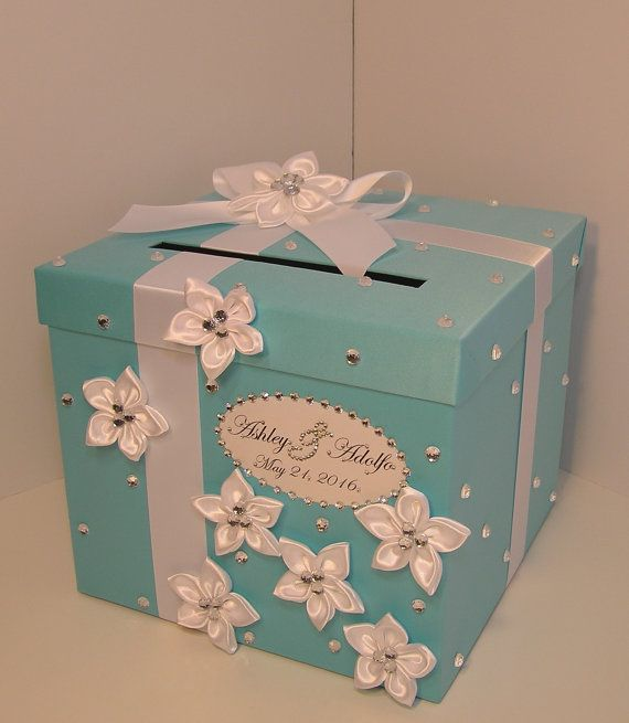 Mariage carte boîte bleu cadeau carte boîte argent par bwithustudio