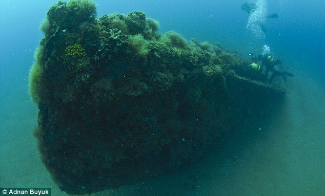 Watery grave: The coral-encrusted HMS E14 which was found earlier this month off the coast of Turkey in the Dardanelles Strait after being sunk 94 years ago