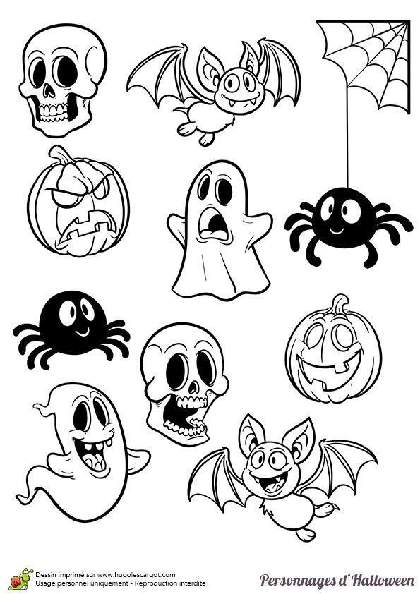 Coloriage de personnages légendaires d'Halloween, plein de petits personnages divers - Hugolescargot.com