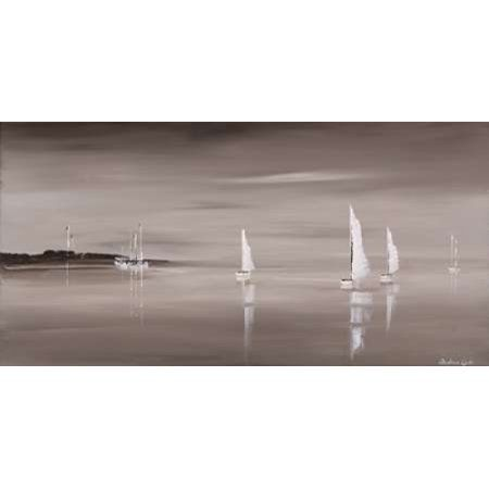Sailing Grey IV Canvas Art - Andrea Cook (24 x 48)