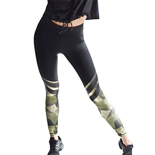 Pantalon de Yoga Pour Femme, Vovotrade Womens Camouflage Splice Yoga Workout Gym Leggings Fitness Sports Cropped Pantalon: Information du…