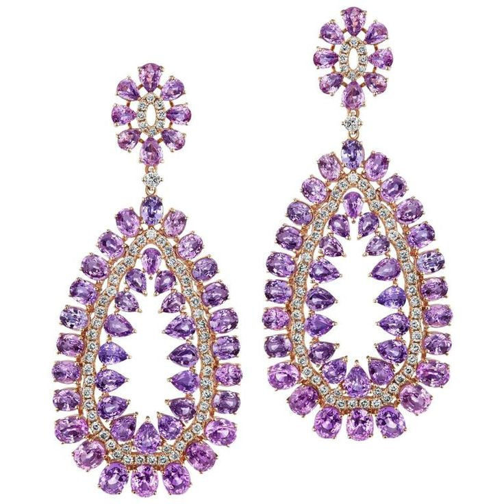 Purple Sapphire Diamond Chandelier Earrings | From a unique collection of vintage chandelier earrings at https://www.1stdibs.com/jewelry/earrings/chandelier-earrings/