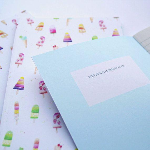 Laptop tijdschrift dagboek ijs A6 zomer van SoniaCavallini op Etsy