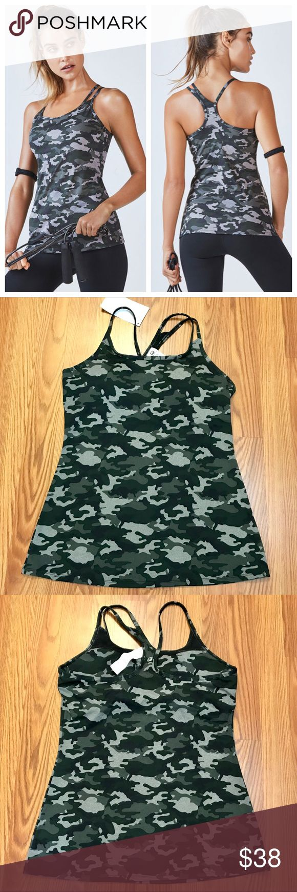 Fabletics Large Omemee Camo Tank NWT Brand new super cute camo tank w/ double straps on one side and nice built in bra w/ removable pads. Size large. From a smoke and pet free home. Fabletics Tops Tank Tops