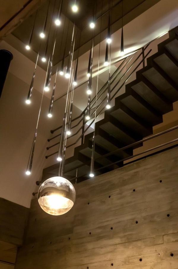 moderne Beleuchtung-Beton Treppenhaus-Innenarchitektur Ideen