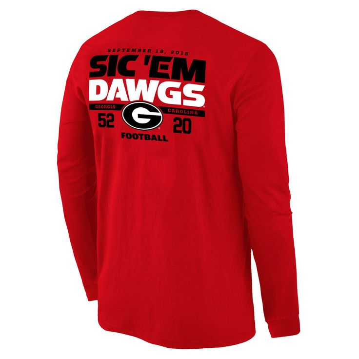 Georgia Bulldogs vs. South Carolina Gamecocks 2015 Score Long Sleeve T-Shirt - Red