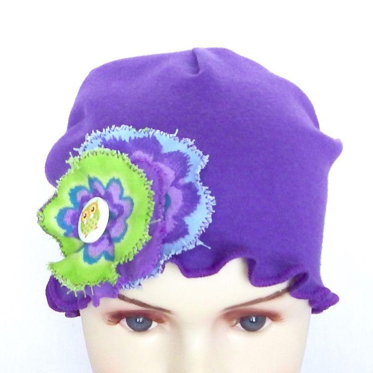 Kids purple chemo beanie, chemo headwear, bonnet, light and comfortable!!