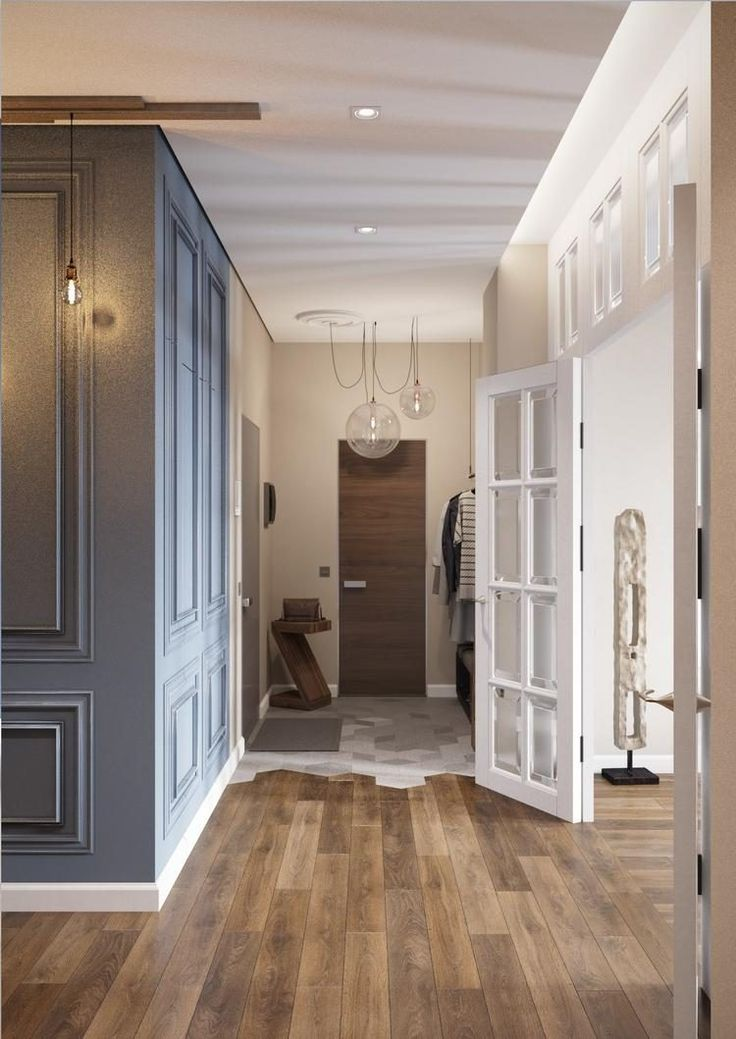 Pasztell kék, földszínek, szürke és fa - kényelmes, modern lakberendezés egy négyszobás lakásban