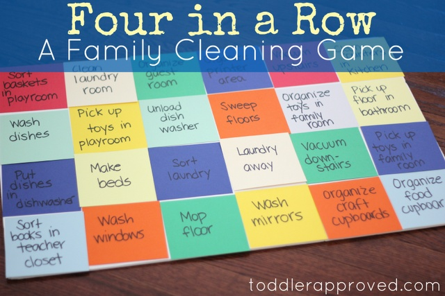 A fun family cleaning game. Do you have any fun ways you get your kids involved with cleaning at your house?: Cleaning Game, Ideas, Fun Idea, Cleaning Fun, Toddler Approved, Kids, Families, Family Cleaning, Chore Game