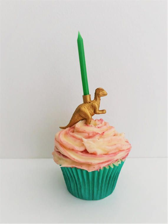 Gold Dinosaur Candle Holder Cake Toppers // Animal Birthday Party Decor // Party Supplies // Animal Party Decor // Cupcake Decoration
