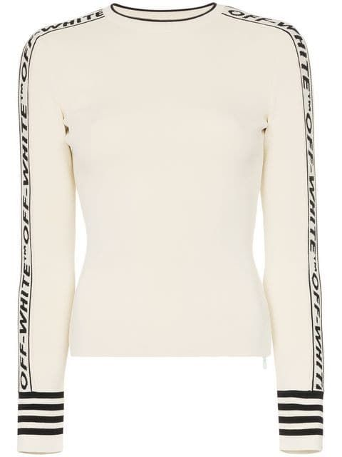 e534e603022d Shop Off-White logo round neck knitted jumper