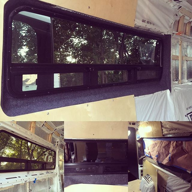 Raw window to nearly complete! Used speaker box carpet adhered with Polymat to finish the gap. L-channel installed to be part of the base for the upper cabinets that will eventually go up above. #promaster #campervan
