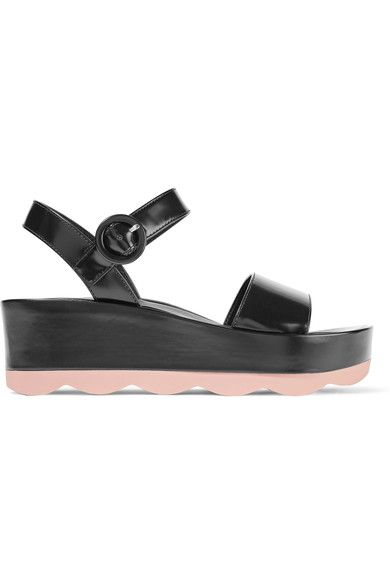 Prada - Glossed-leather Platform Sandals - Black - IT