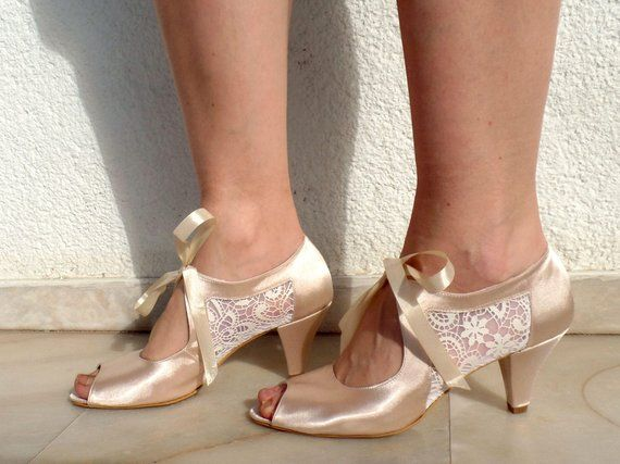 Wedding Shoes Champagne Satin Bridal Shoes With Ivory Lace Low Heels Lace Bridal Shoes Custom Wedding Shoes Satin Wedding Shoes