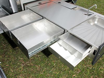 offroad camper trailer kitchen slide storage 1