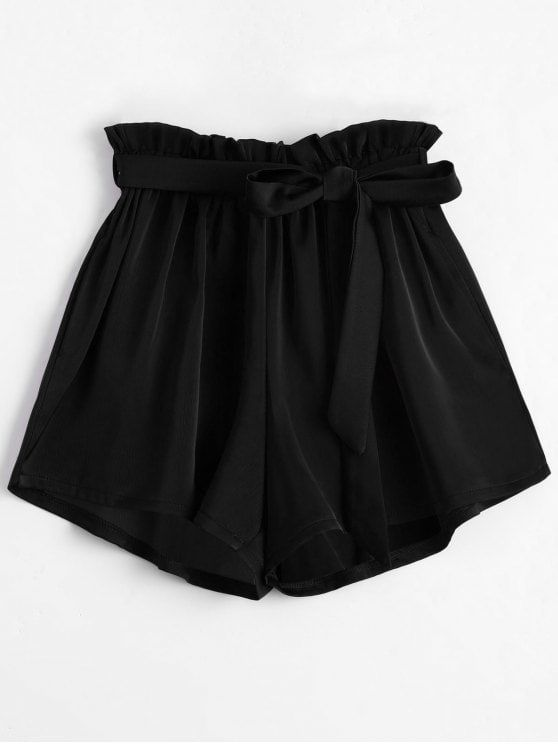 12c770cba4 Smocked Belted High Waisted Shorts - BLACK ONE SIZE