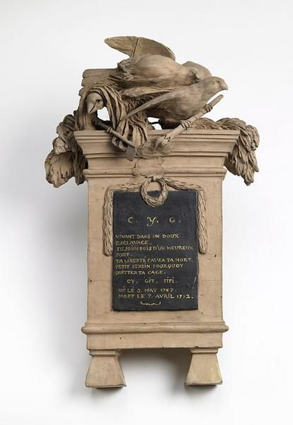 A small mausoleum of a canary, called Fifi, in terracotta by Michel Claude Clodion 1738, with a small poem