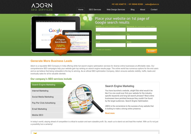 Adorn SEO Company Offering the SEO services for your online Business at affordable rates and Also offering the web design and Web development Service