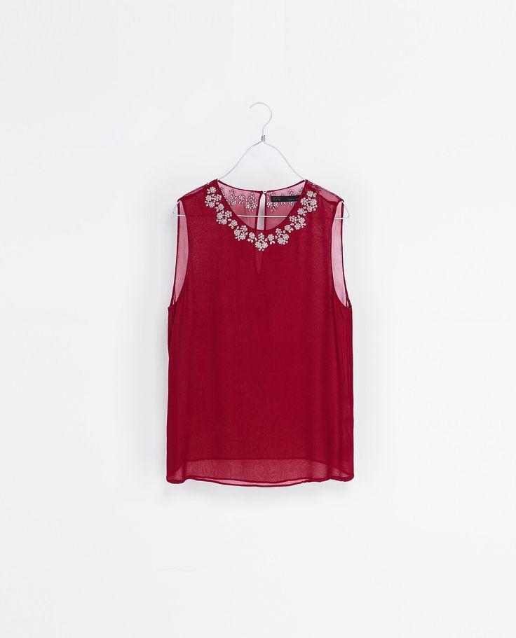 BLUSA CUELLO BORDADO - Camisas - Mujer   ZARA España, Agosto 2013