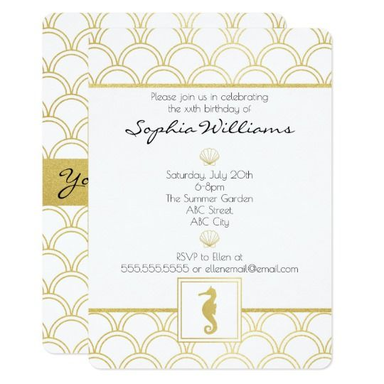 Art Deco Seahorse Faux Gold Vintage Birthday Party Invitation