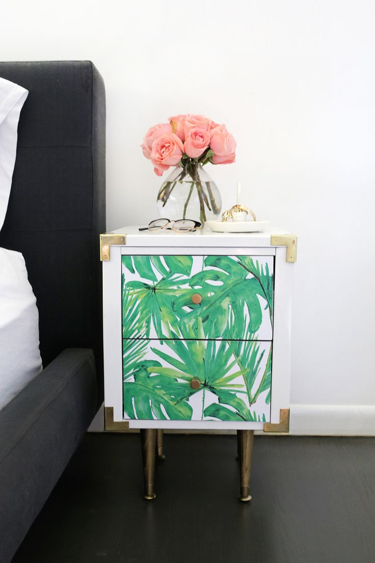 How to make a diy wallpaper decal nightstand