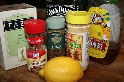 •1 oversized mug  •8 ounces of boiling water  •1/4 teaspoon of ground ginger  •3 whole cloves  •Cinnamon stick  •2 green tea or orange pekoe tea bags  •2 tablespoons honey  •1 tablespoon fresh lemon juice and/or a splash of apple cider vinegar  •1 to 2 ounces of Jack Daniels whiskey  •Slice of lemon