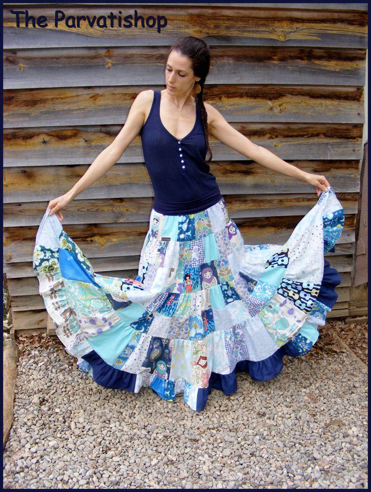 jupe gitane boheme patchwork hippie boho maxi skirt de la boutique theparvatishop sur etsy. Black Bedroom Furniture Sets. Home Design Ideas