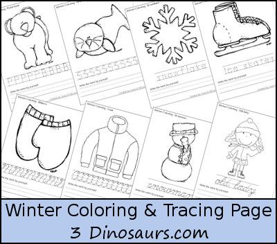 Free Winter Coloring with Print & Cursive Words - 4 different options for different levels of learning.