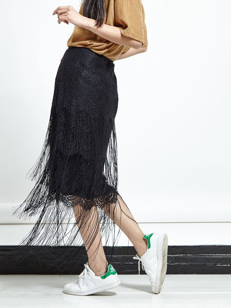 Black lace tiered midi skirt with fringe hem  • fitted • zip closure at side  Fabric Composition: 100% Nylon  Model is 173cm andwears: UK S/ EU S/ US XS (to...