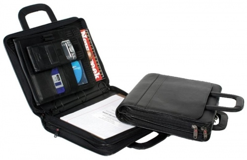 "Winn ""The Opportunist"" Leather Portfolio  A portfolio with a removable 3 ring binder and lots of extras."
