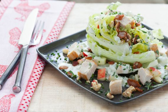 Chicken Wedge Salad with Crisp Apple, Walnuts and Lemon-Blue Cheese D ...