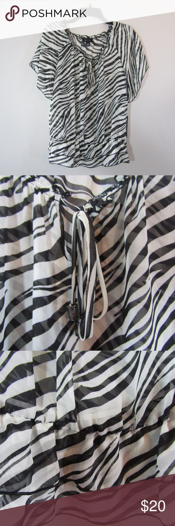 Beautiful sheer black + white zebra stripe pattern NWT AB STUDIO -   So cute and perfect dressed up or down!  Measurements:  20 inches armpit to armpit 19.75 inches middle of collar to bottom hem 24 inches shoulder to bottom hem 5.75 inches armpit to end of sleeve AB Studio Tops Blouses