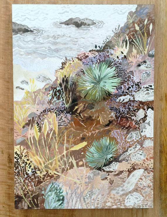 Of all Michelle Morin's enchanting, nature-inspired works, we might just like this original watercolor and gouache painting of a California hillside the most. #etsy