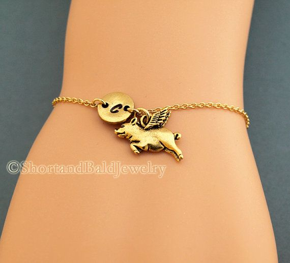 pig with wings charm bracelet flying pig antique gold