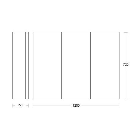 Osca Pencil Edge Mirrored Cabinet 1200mm