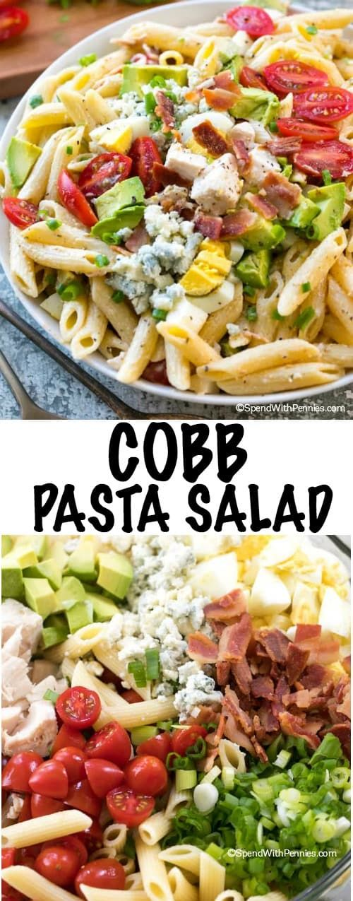 Pasta Salad is the perfect summer meal alongside a cold refreshing glass of iced tea! Loaded with juicy tomatoes, crisp bacon, avocados and cheese, this pasta salad can save the day at dinner time or be the star dish at any picnic or potluck spread! #simplesolutions #ad #pastasalad #summermeal #makeaheadCobb