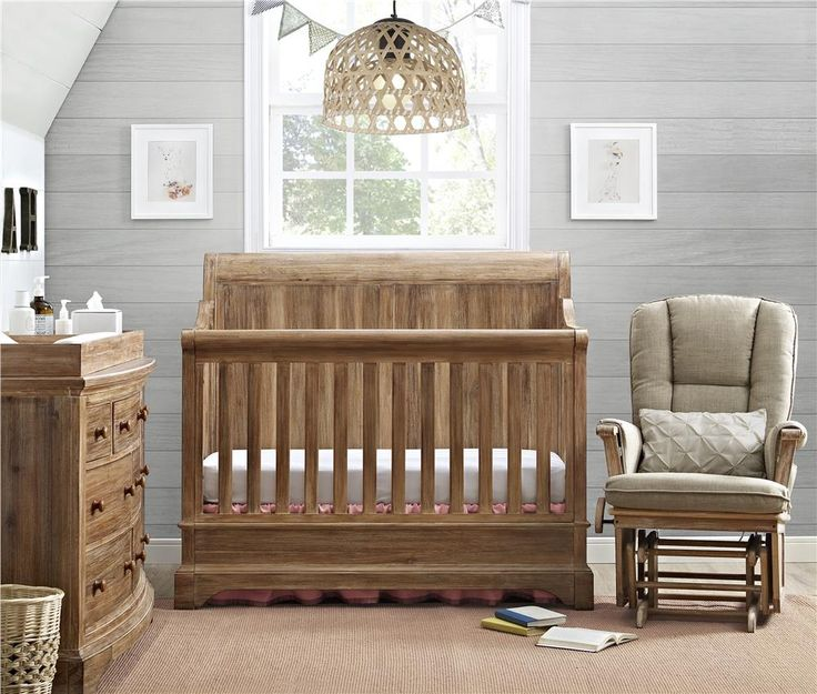 The Pembrooke 4 in 1 Convertible Crib is designed to meet all of your growing baby's needs. Transforming from a crib, to a toddler bed, to a full size bed with a headboard or with a headboard and a footboard! The natural rustic finish, solid wood construction, and detailed wood-cuts make it the perfect centerpiece for your nursery. The crib adjusts for 4 mattress height positions and accommodates a standard crib size mattress (sold separately).