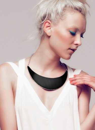Cres L Necklace in Black by Minty Meets Munt #mmm #goshcelebrity #shop #black #necklace #jewellery #fashion #trends