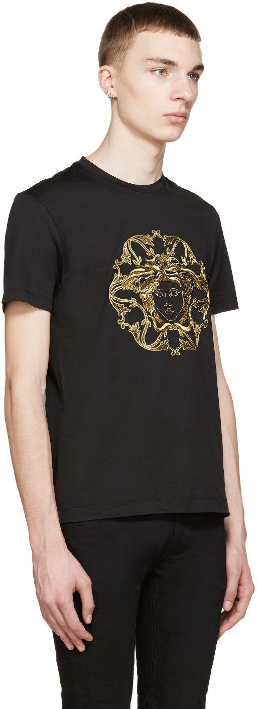 Versace Black & Gold Embroidered Medusa T-Shirt