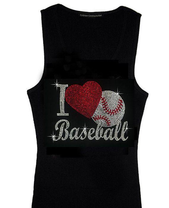 I Love Baseball Rhinestone TShirt  Rhinestone by RegalRhinestones, $21.95